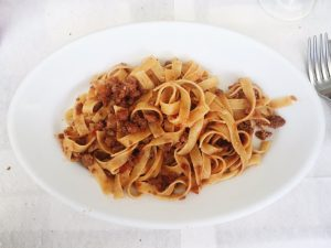 Tagliatelle al ragu at Trattoria Casottel restaurant in Milan